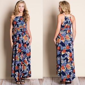 Navy Sleeveless Floral Maxi Dress