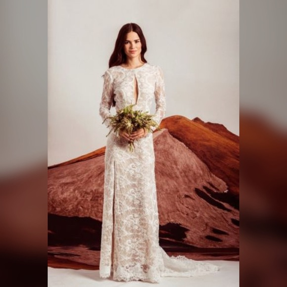 Anthropologie Dresses & Skirts | NWOT BHLDN Stone Cold Fox Lace ...