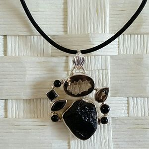 Earth Art hand crafted artisan Jewelry - Black & Brown Gemstones Necklace