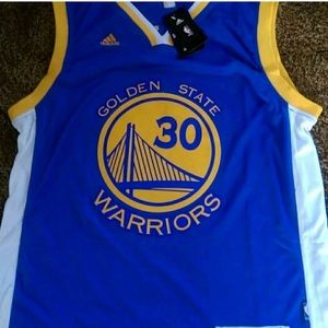 Golden State Warriors jersey. Curry 30 patched on
