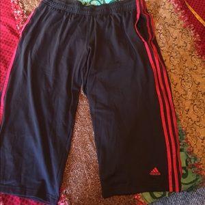 Adidas Pants - Adidas XL capris grey and pink like new