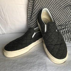 Vans Gray Felt Quilted Slip On Sneakers
