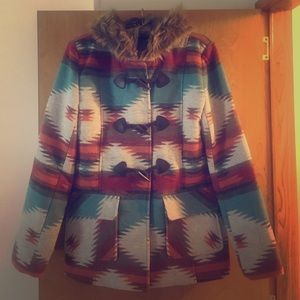 Aztec coat with fur trimmed hood with toggles. L