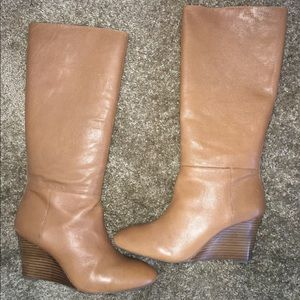 Banana Republic Knee High Wedge Tan Boots Size 10