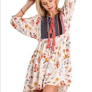 Tops - Multi print boho style dress/ tunic with tassels