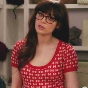 "F21 Red Bow sweater as seen on ""New Girl"" season 1"