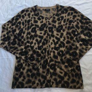 100% Cashmere leopard print cardigan szL