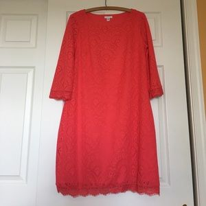 London Times Dresses & Skirts - London Times Coral Dress with 3/4 Sleeves in 12