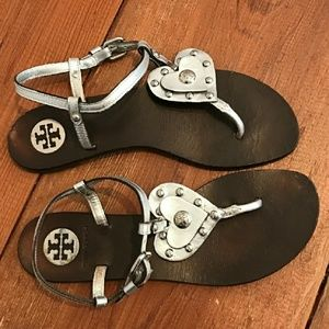 Tory Burch Shoes - Tory Burch Silver Leather Heart StudSandals Sz 7.5