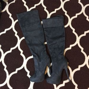 Gray over-the-knee suede boot