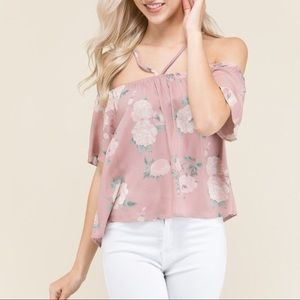 DEE Off Shoulder Floral Top - MAUVE