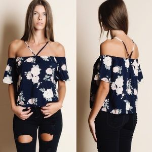 DEE Off Shoulder Floral Top - NAVY