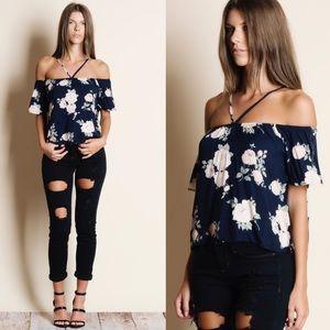 Bellanblue Tops - DEE Off Shoulder Floral Top - NAVY
