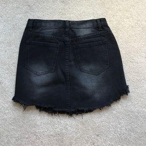 Black distressed Forever 21 denim skirt