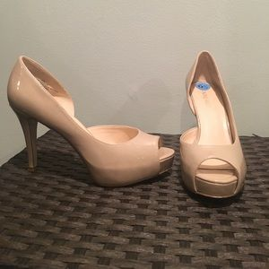 NINE WEST Nude Peep-toe Pumps