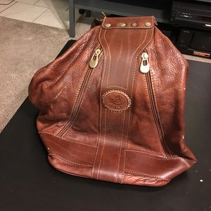 Italian brown distressed leather backpack