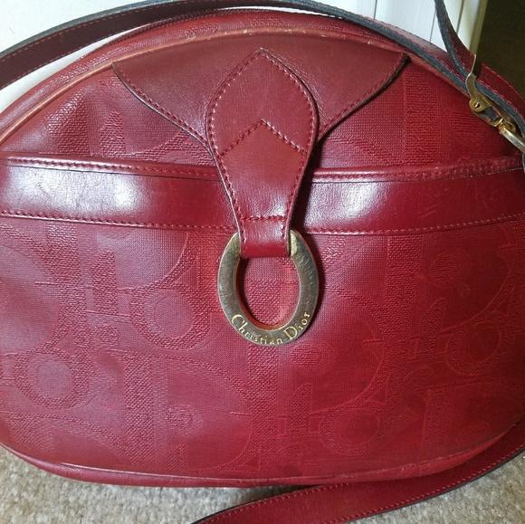 Dior Bags   Rare Vintage Christian Red Logo Crossbody Bag   Poshmark 99459f03e4