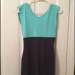 American Apparel color block two tone dress