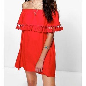 Boohoo Dresses & Skirts - Boohoo tassel red dress