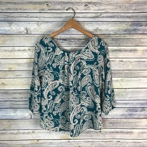 Papermoon Stitch Fix Teal Paisley Blouse