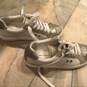 Zara metallic and white sneakers!