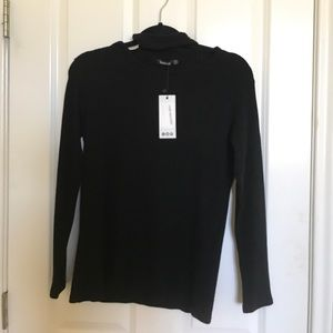Boohoo Tops - black long sleeve with attached chocker at neck.