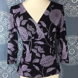 Worthington Tops - Worthington Black Floral Semi Sheer Faux Wrap Top