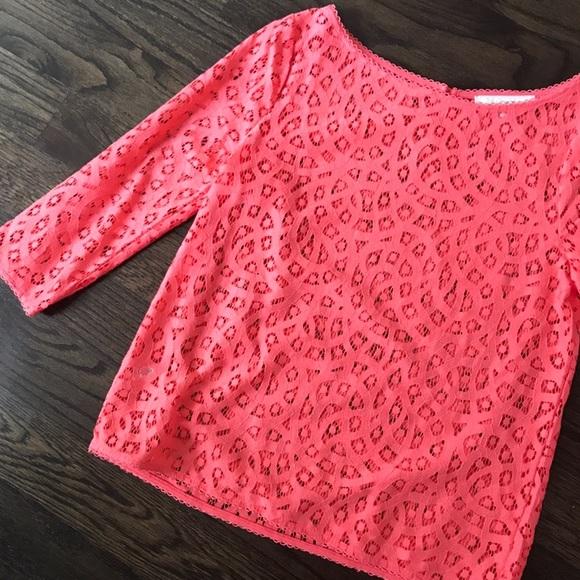 LOFT Tops - Ann Taylor Loft Pink Lace Top