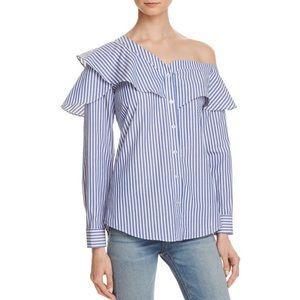 Bardot Tops - {Bardot} Striped Ruffle & Frill Shirt