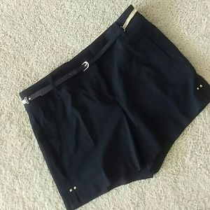 Thalia Sodi Pants - Dressy black shorts, gold belt & accents