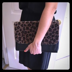 Lily Wang Handbags - Blk and leopard print envelope clutch