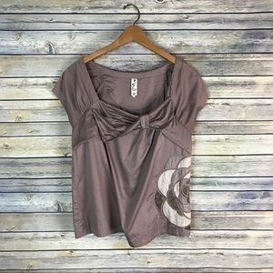 Floreat Anthropologie Taupe Damask Rose Blouse