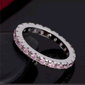 Jewelry - Sterling Silver Ring W/Pink Crystals