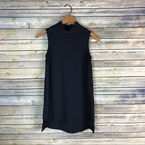 H&M Conscious Navy Sleeveless Mock Neck Blouse