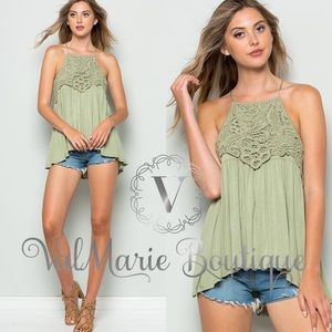 ValMarie Boutique LLC Tops - MEGA SOFT SAGE modal crochet overlay top Tunic