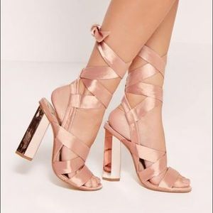 Brand New Missguided Rose Gold Tie Sandals
