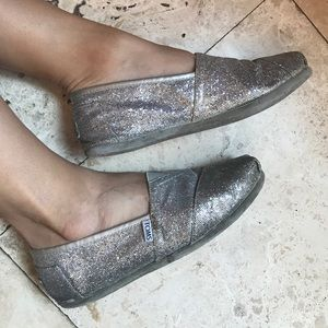 Toms Silver Glitter Shoes 