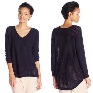Two by Vince Camuto Pointelle Navy Sweater