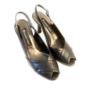 E. Aigner Black Peep Toe Sling Back Heels, 7M