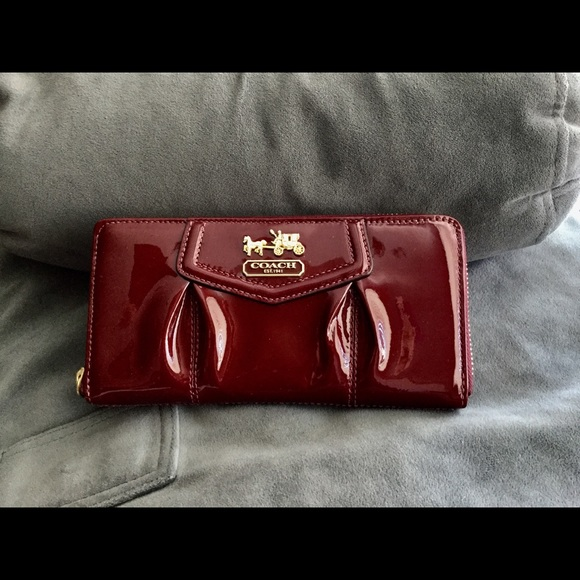 3195d6f8f776 Coach red patent leather zip around wallet
