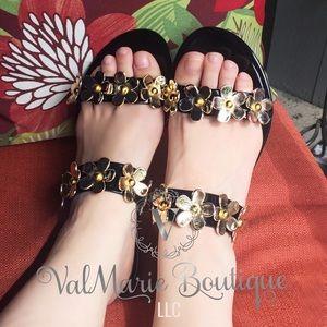 Gold Flower Black Jelly Sandals