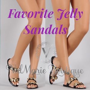 ValMarie Boutique LLC Shoes - Gold Flower Black Jelly Sandals