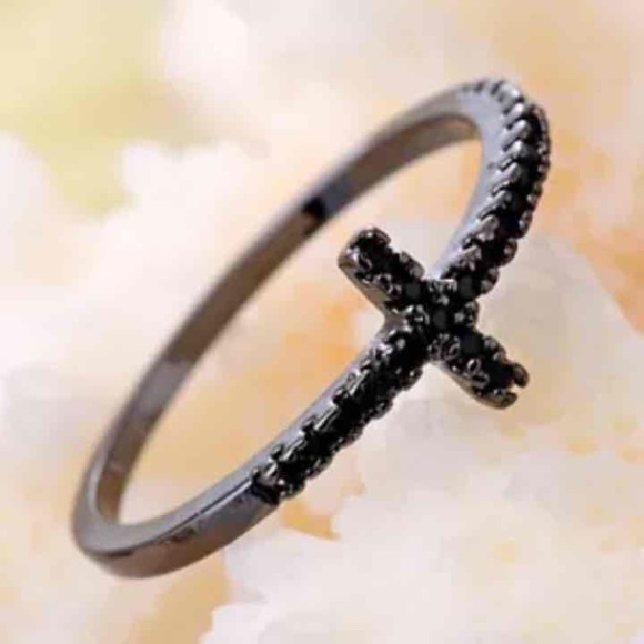 black gold gemstone cross promise ring from s closet