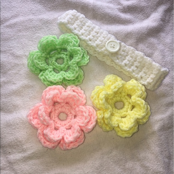 Accessories Brand New Crochet Headband With Crochet Flowers Poshmark