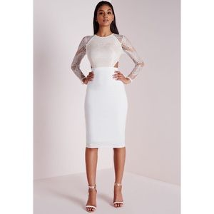 Missguided Dresses & Skirts - Lace Long Sleeve Cut Out Midi Dress White