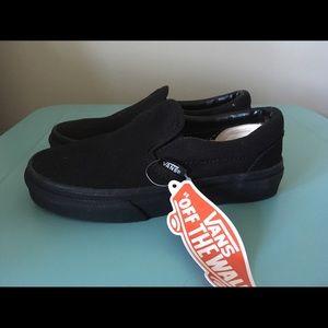 Vans Black on Black Slip Ons - Sz 12.5