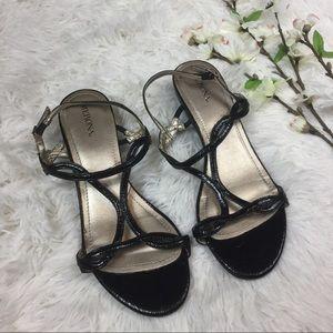 """Merona Shoes - Black strapy mini 1"""" wedge sandal heel"""