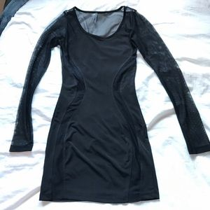 Nasty Gal Black Mesh Panels Long Sleeve Dress