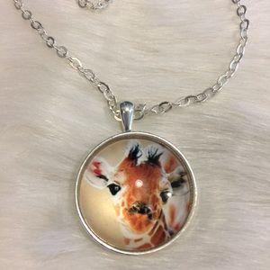  Giraffe necklace pendant glass dome silver tone