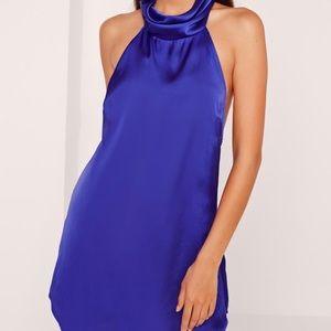 Silky High Neck Swing Dress